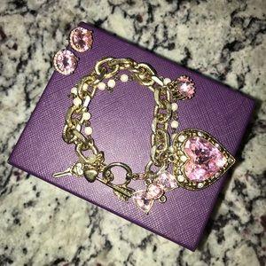 Betsey Johnson Charm Bracelet & Earrings